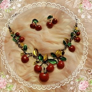 Jewelry - Sweet cherry necklace and earrings